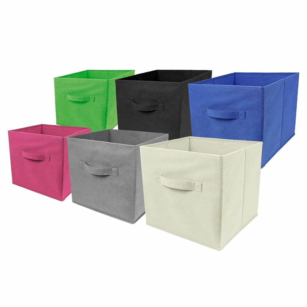 Square Collapsible Canvas Storage Box Foldable Kids Toys: 4 X Large Foldable Square Canvas Storage Box Collapsible