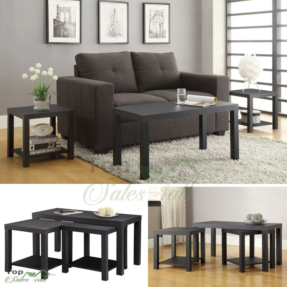 Black Living Room Furniture: Coffee Table Set 3 Piece Wood Living Room Furniture Accent
