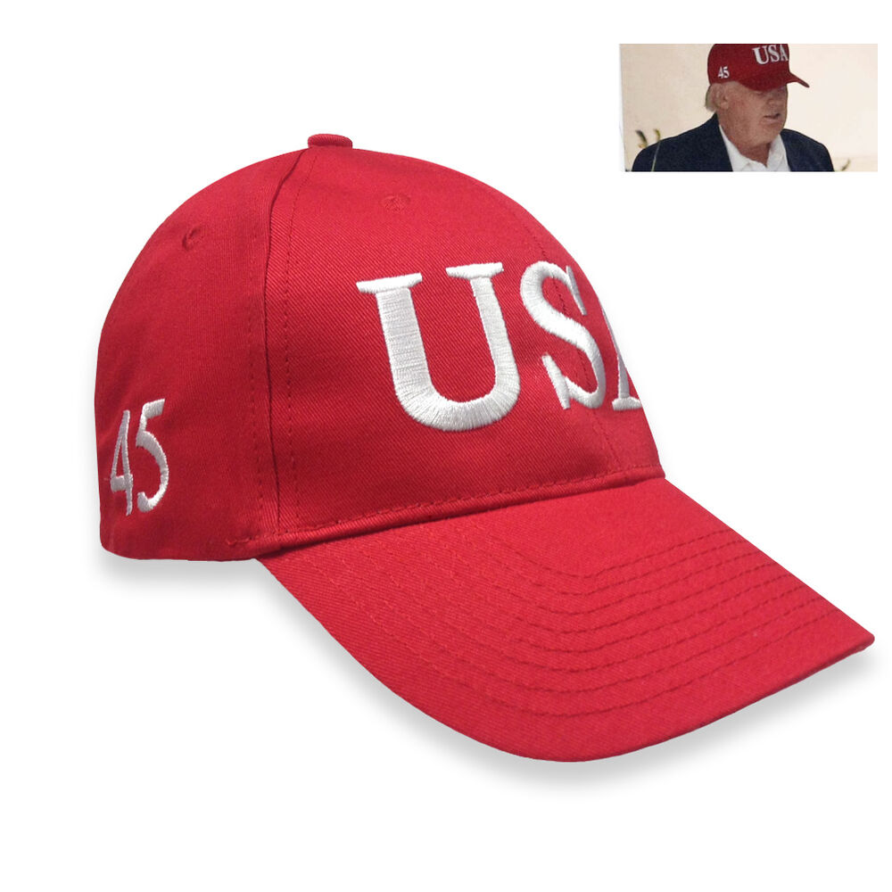 Usa Trump 45 President Red Hat Front Side Embroidery