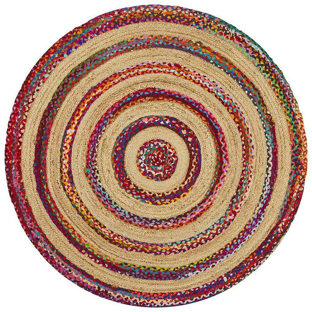 Large Round Floor Rug Hand Braided Flate Woven Multi 150 X