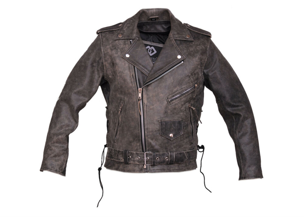 Men S Distressed Belted Brando Motorcycle Leather Jacket