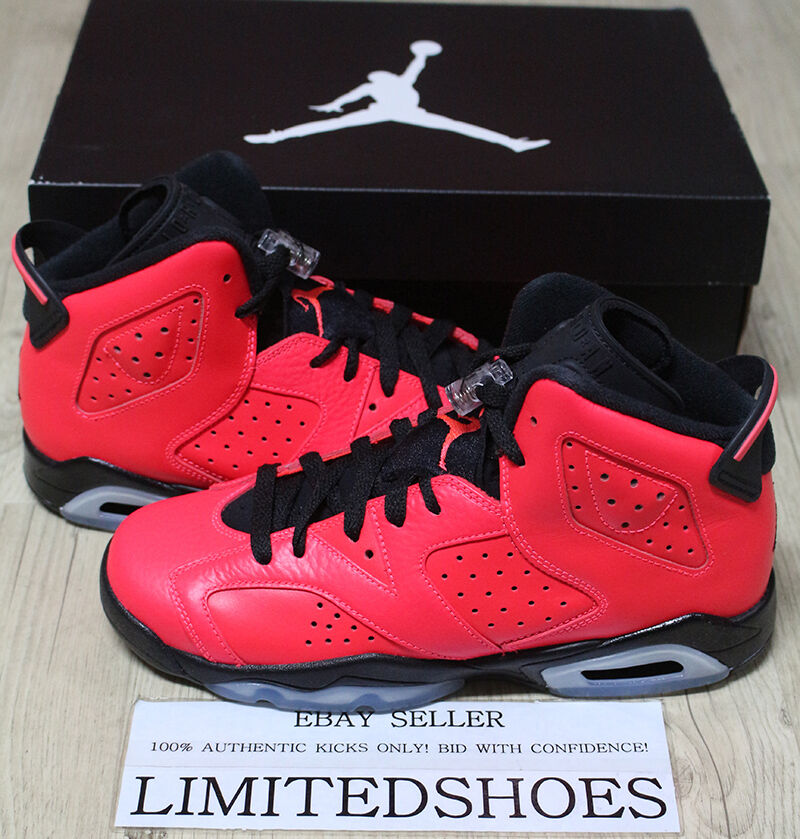 Details about NIKE AIR JORDAN 6 RETRO BG INFRARED 23 TORO RED BLACK  384665-623 US 6.5Y maroon 4898ac9a9