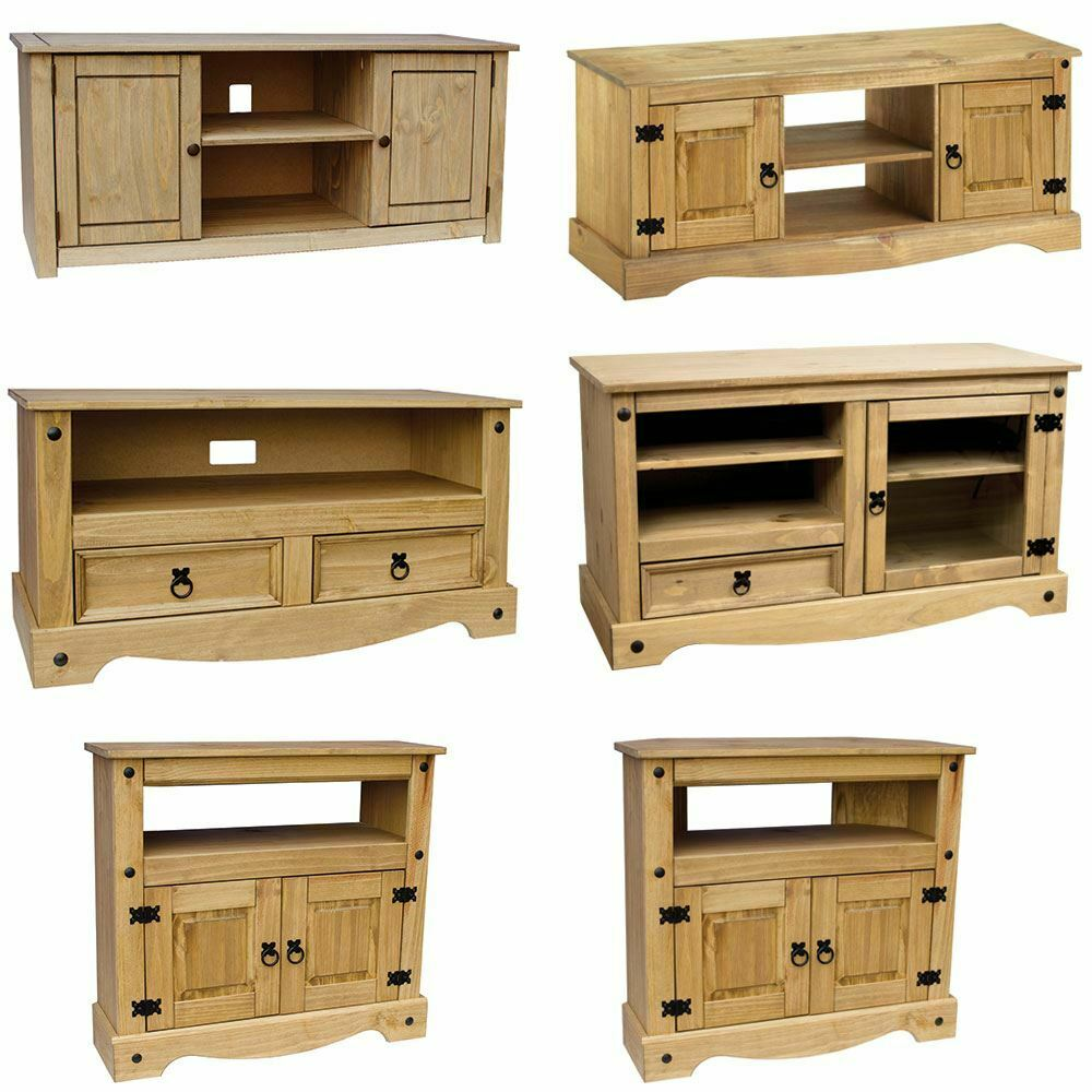 Tv cabinet corona panama entertainment display unit solid for Meuble armoire tv