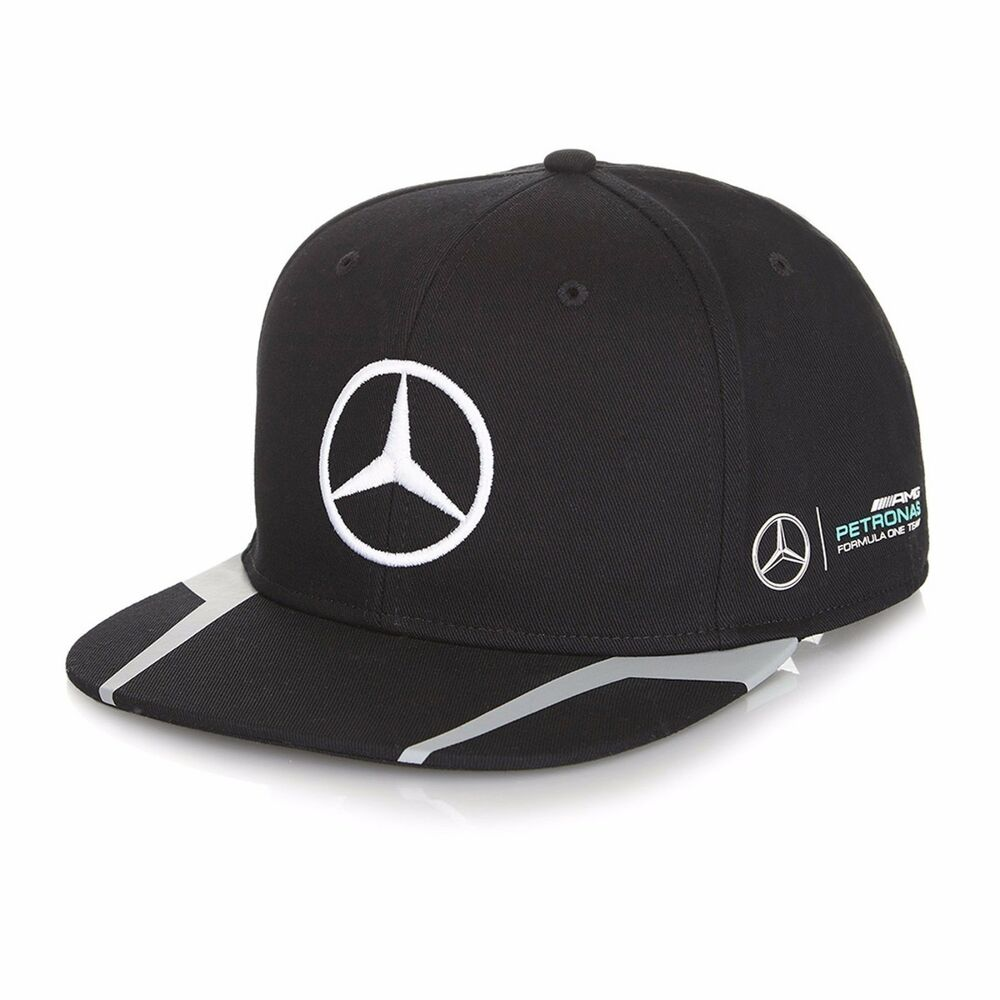2016 official mercedes amg f1 lewis hamilton flat brim peak cap black new ebay. Black Bedroom Furniture Sets. Home Design Ideas