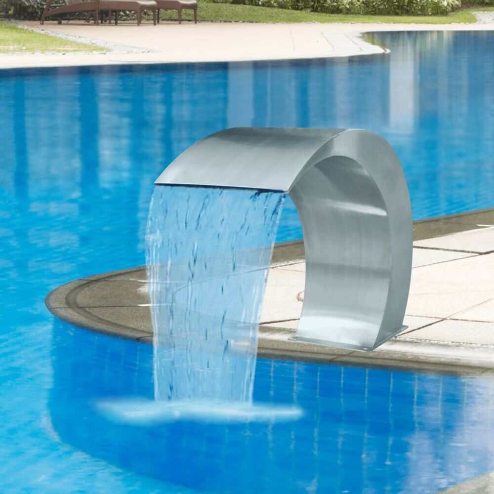 Stainless steel pool accent fountain sheer descent pond for Waterfall fountain