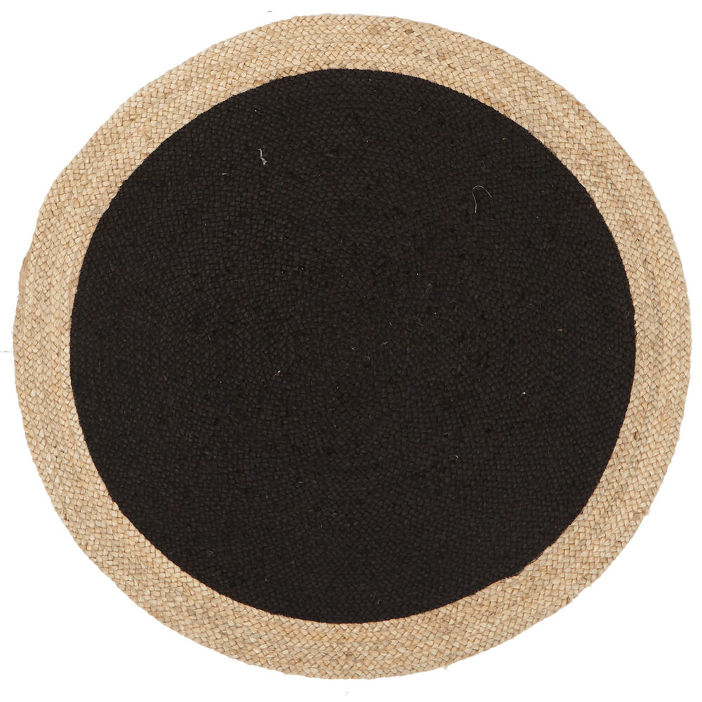 Rug round natural circle black colour jute floor mat for Round carpets and rugs