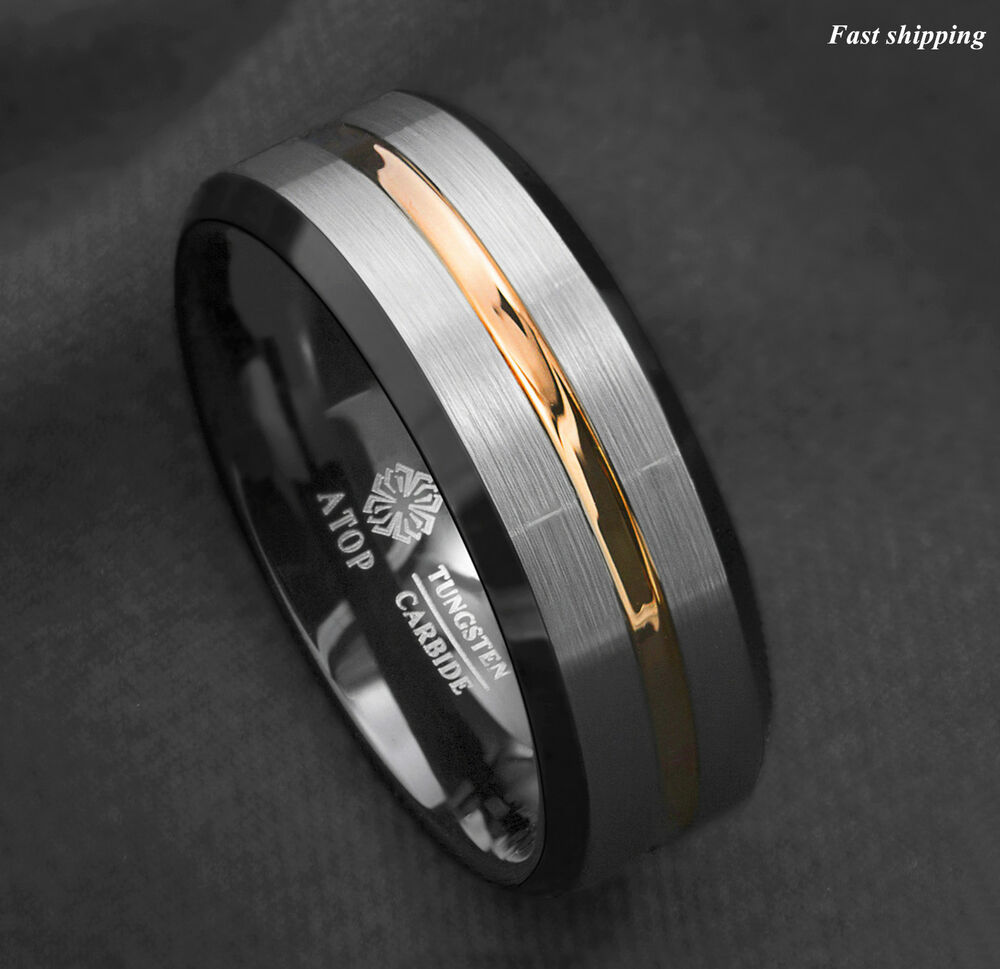 wedding ring mens 8mm silver brushed black edge tungsten ring gold stripe 9967