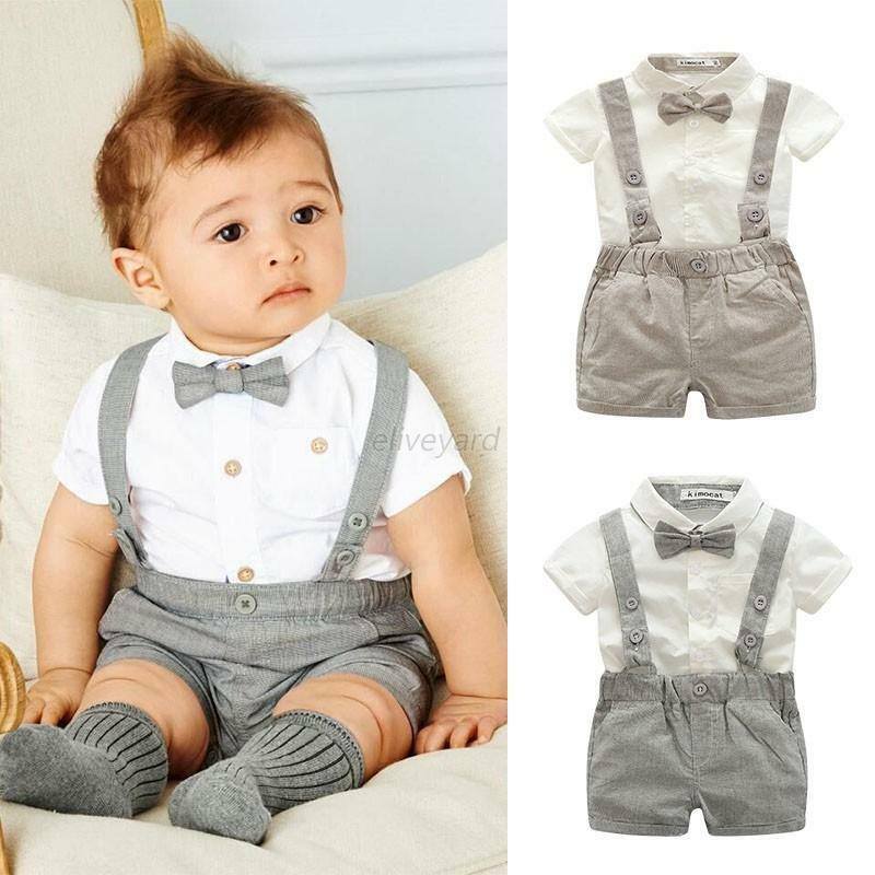 2PCS Baby Kids Boys Gentleman T-Shirt Tops+Bib Pants ...