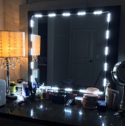 10ft dressing mirror lighted cosmetic makeup vanity led lights white remote plug ebay. Black Bedroom Furniture Sets. Home Design Ideas