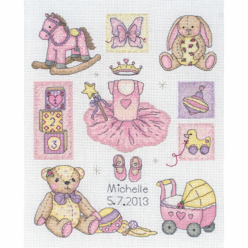 Anchor counted cross stitch kit baby girl birth