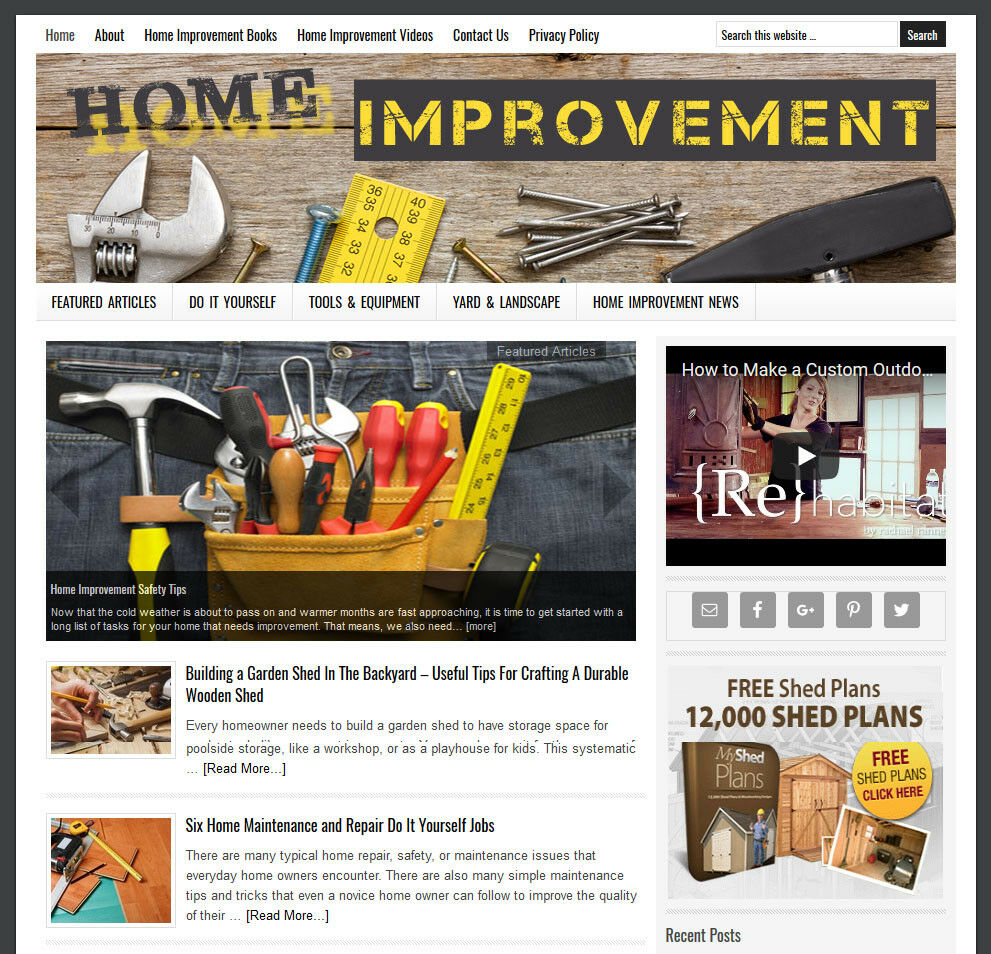 Home Improvement Blog Website Business For Sale With