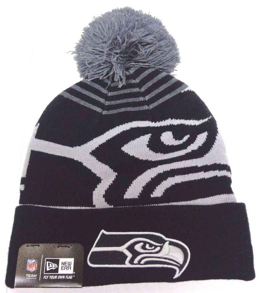 fe2bdcc37b0 Details about Seattle Seahawks New Era Logo Whiz Cuffed Knit Hat with Pom