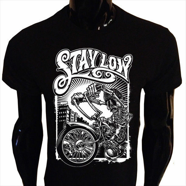 Stay Low T Shirt Mens Funny Biker Rider Lowrider Skeleton