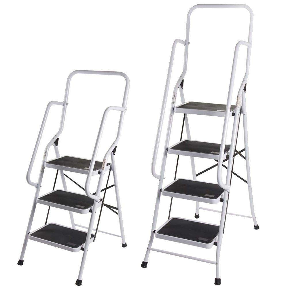 3 4 Step Ladder With Safety Handrail Anti Slip Rubber Mat