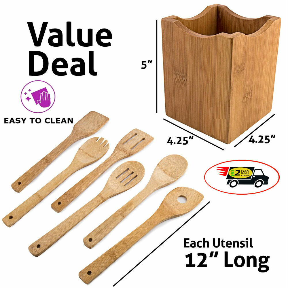 Wooden Spoons 7 Piece Utensil Set Kitchen Cooking Bamboo
