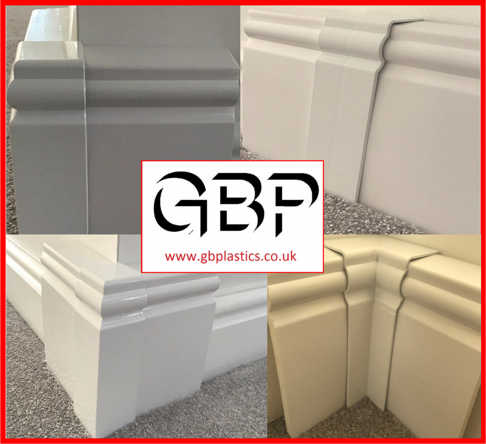 UPVC Skirting Board Cover, 100mm & 150mm, Corners & Joints