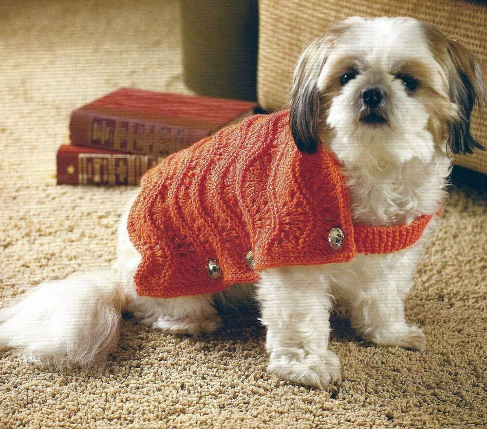 Dog Coat Knitting Pattern Uk : Small medium large dog coat knitting pattern double knit