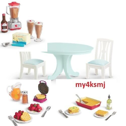 American girl doll kitchen food dining table set 3 food for Doll kitchen set