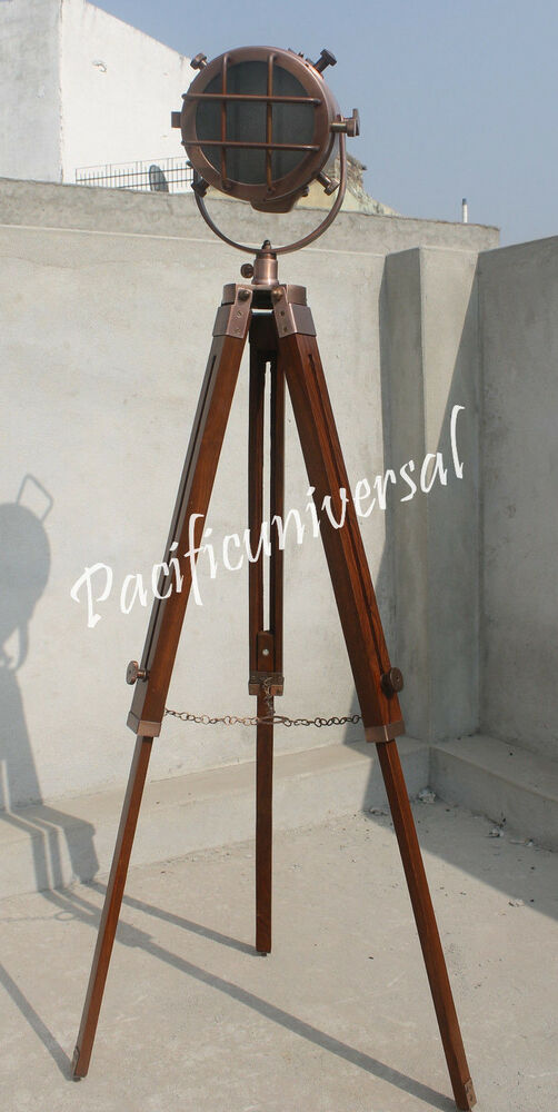 Vintage handmade copper hollywood studio floor lamp with for Retro hollywood floor lamp