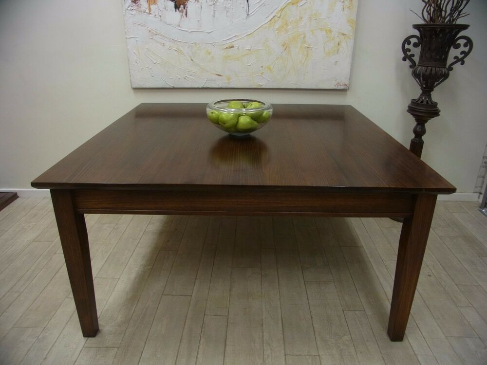 rustic square style 8 seater dark stained timber dining table