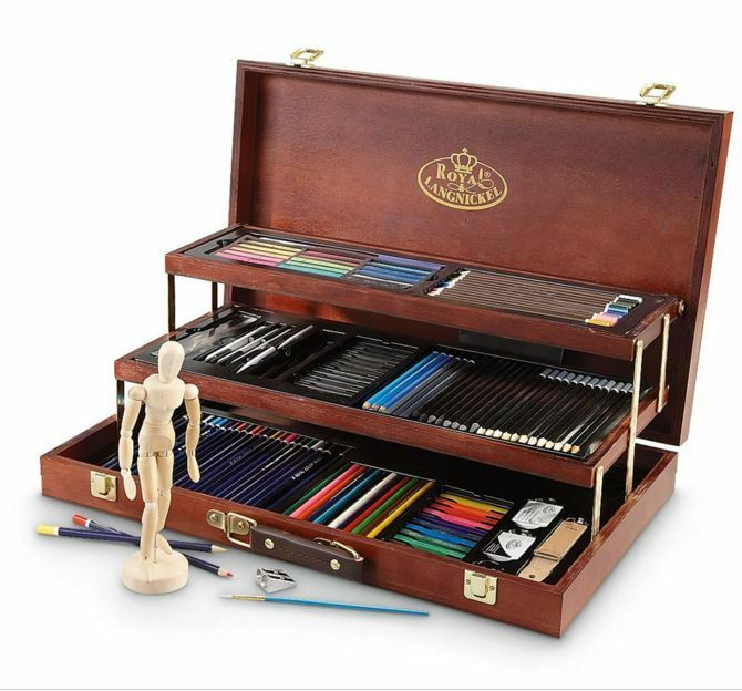 drawing art set 134 piece professional premier sketching pencils model kit case ebay. Black Bedroom Furniture Sets. Home Design Ideas