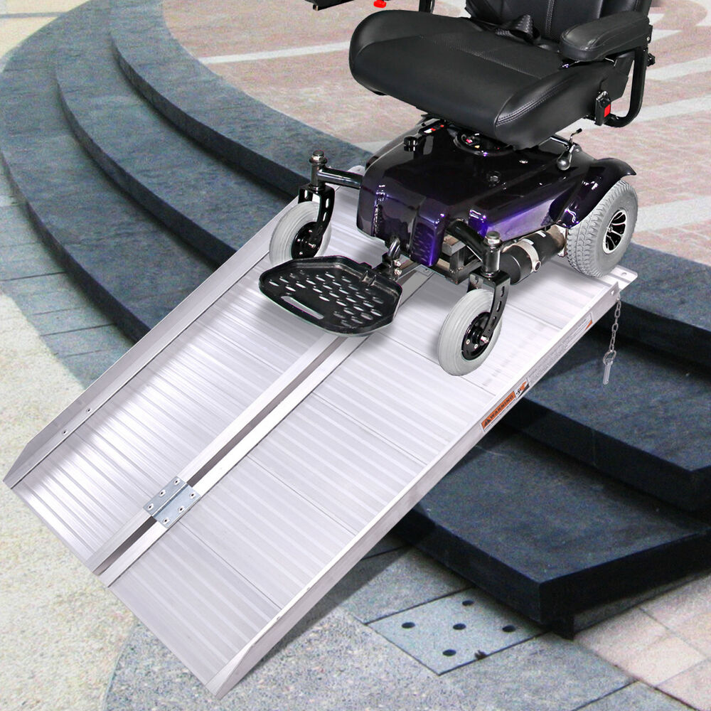 Folding Portable Wheelchair Ramp : Folding portable suitcase mobility wheelchair threshold