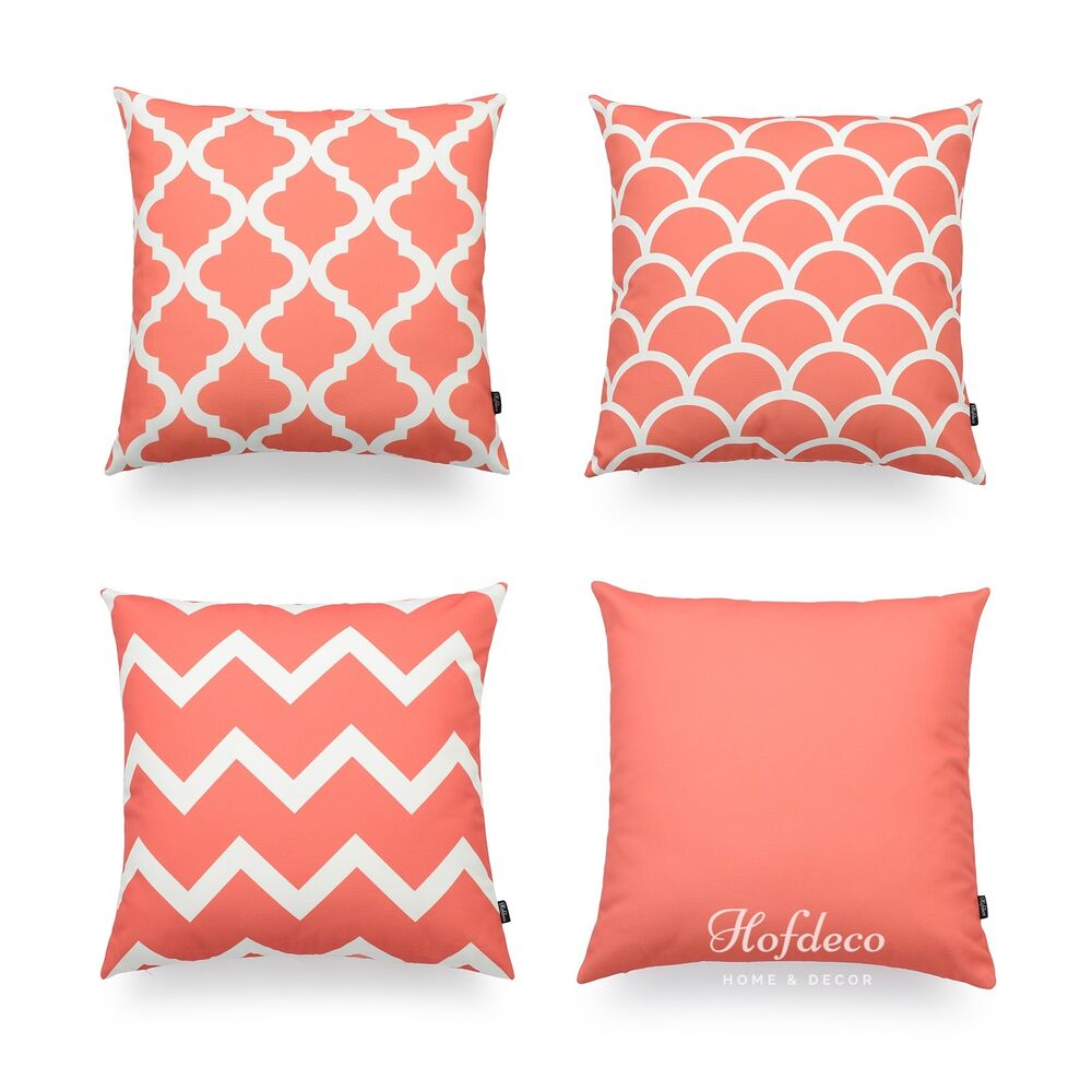 Pink Throw Pillows For Couch : Hofdeco Decorative Throw Pillow Cover Geometric Coral Pink Sofa Chair Car Couch eBay