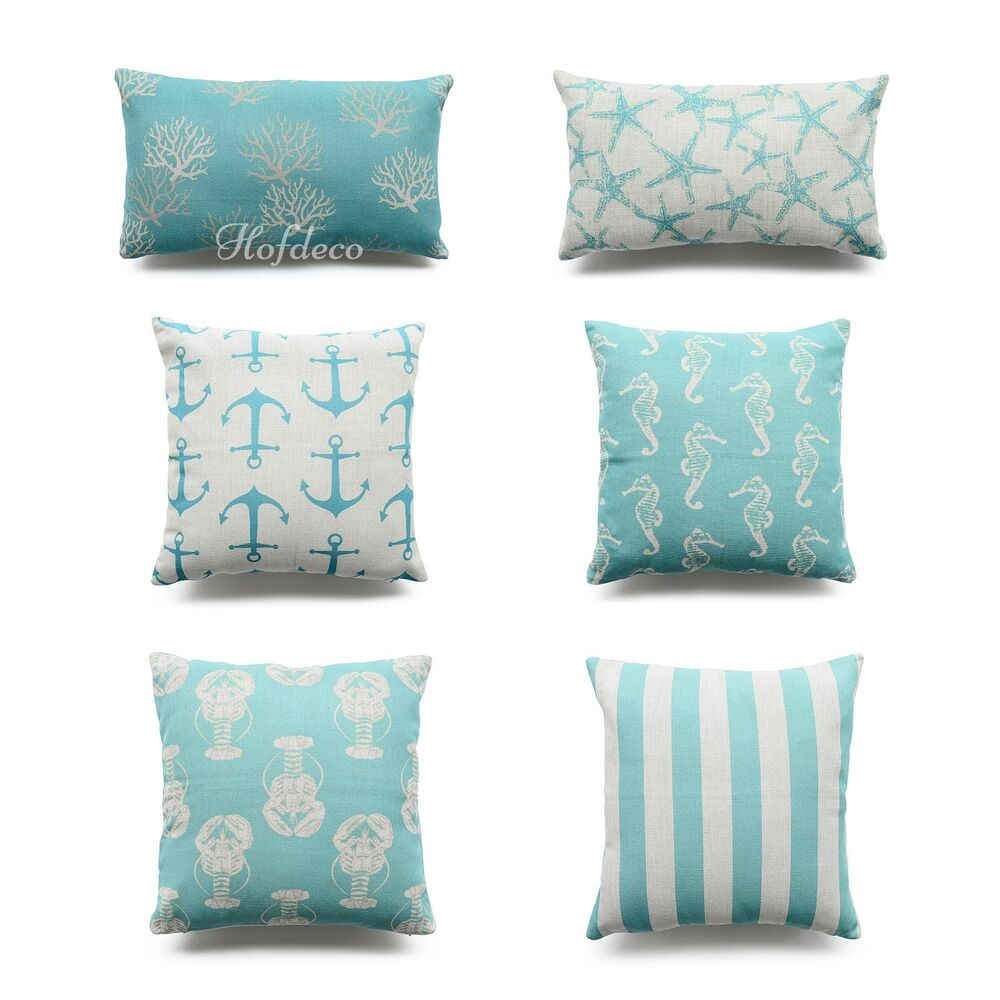 Hofdeco Throw Pillow Cover Aqua Turquoise Ocean Coastal