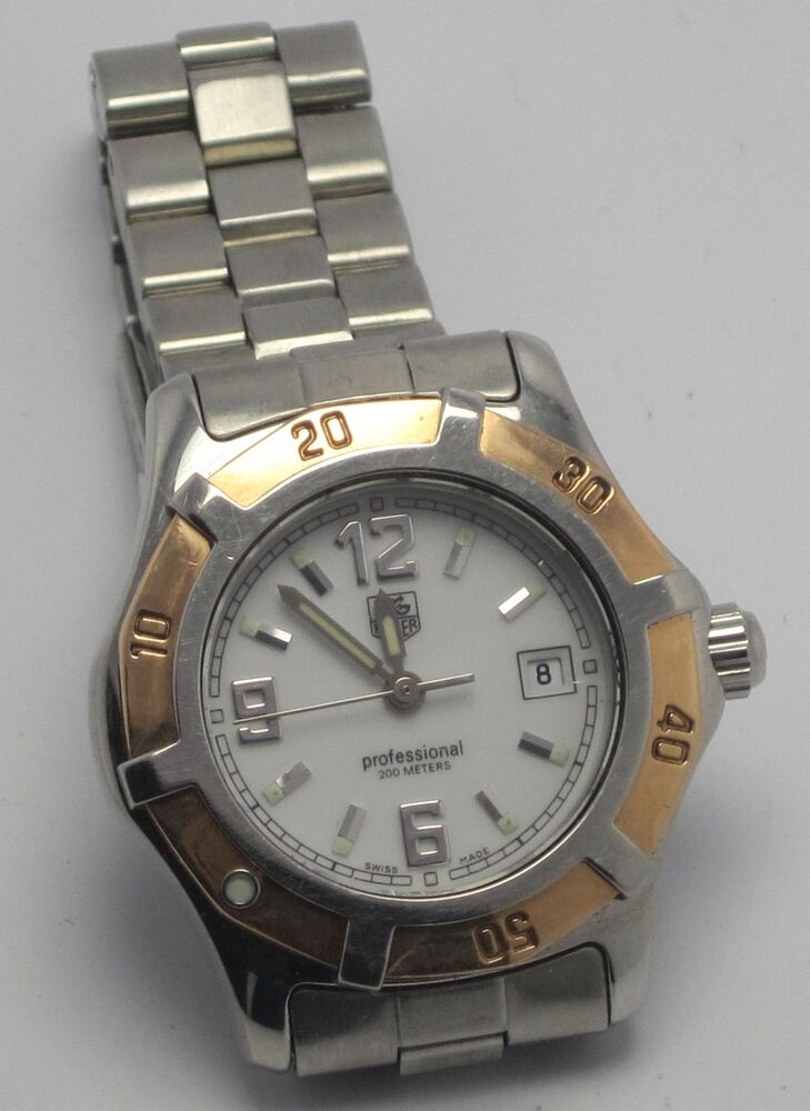 Tag heuer wn1350 womens professional 18k gold bezel stainless steel watch ebay for Tag heuer women