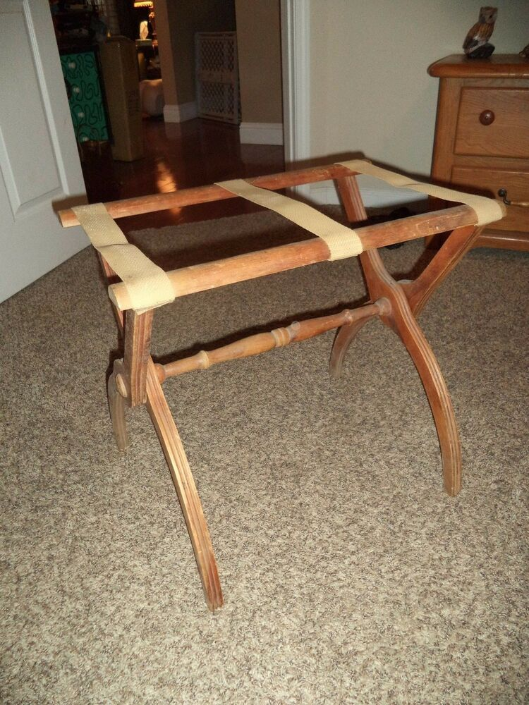 Vintage wooden suitcase stand luggage rack bed breakfast decor guest room ebay for Folding luggage racks bedroom