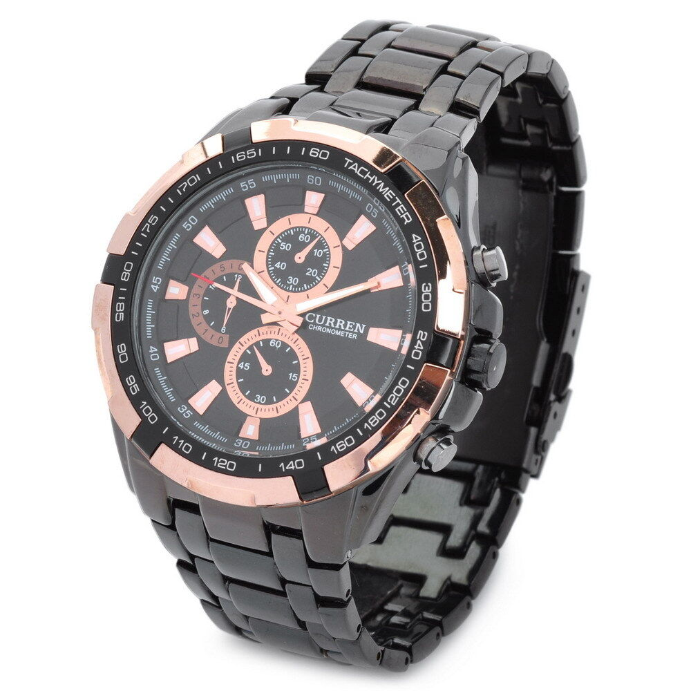 Curren men 39 s quartz sports wrist watch black golden stainless steel waterproof ebay for Curren watches