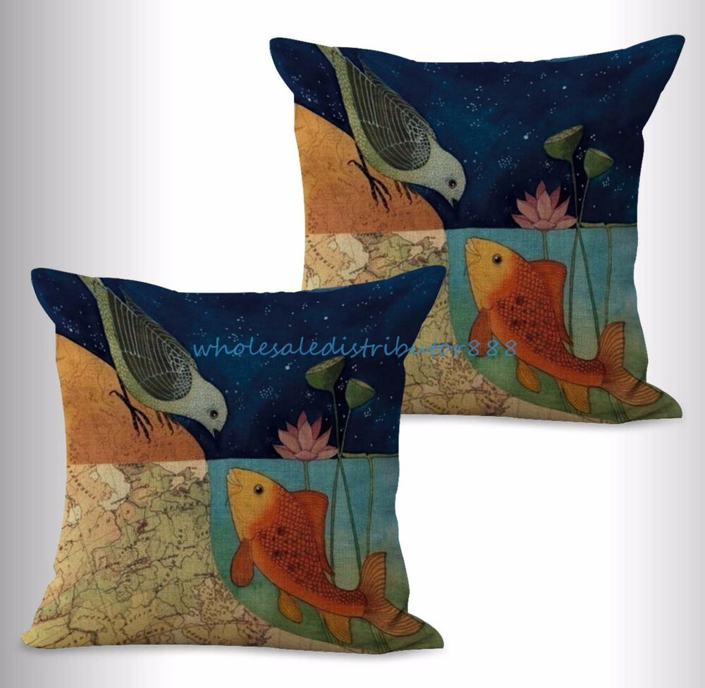 Us seller 2pcs throw pillows for couch cheap bird fish for Buy pillows online cheap