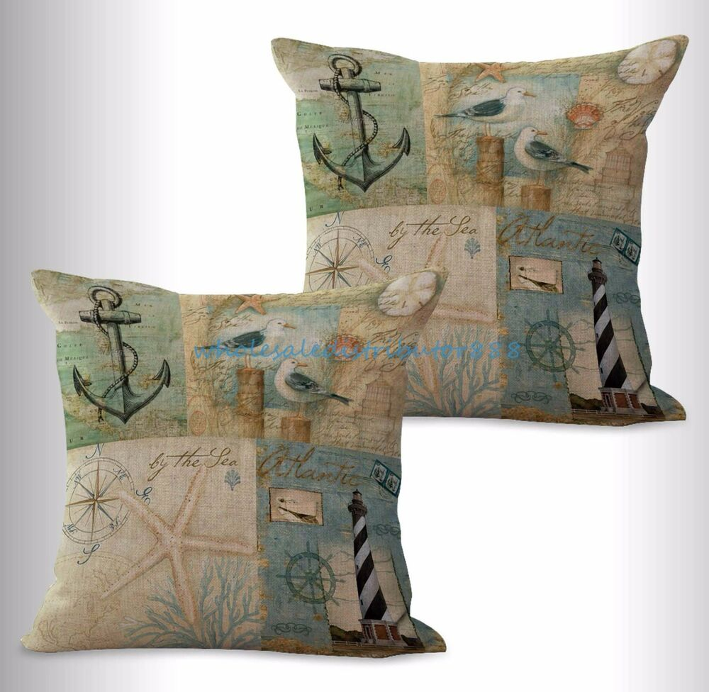 In Expensive Throw Pillows : US SELLER-2pcs cheap throw pillow sets nautical light house anchor cushion cover eBay