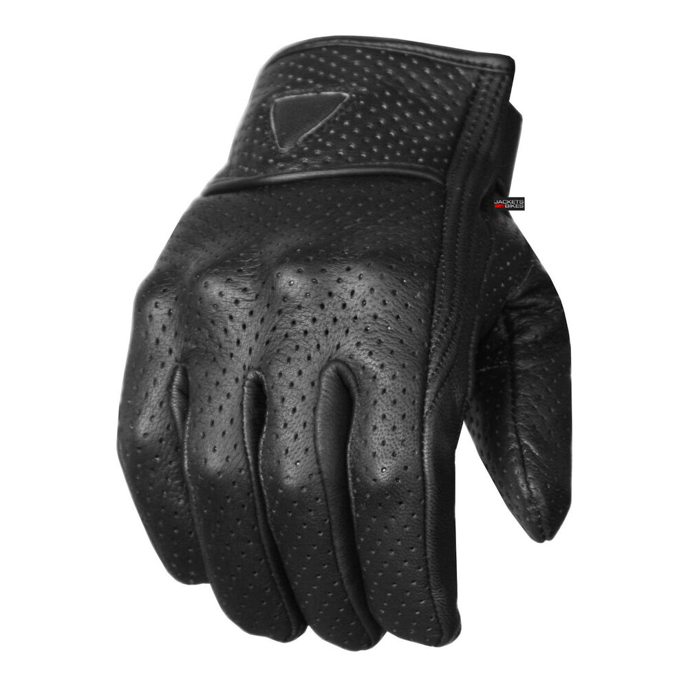 Best Motorcycle Armor >> Premium Men's Motorcycle Leather Perforated Cruiser Protective Gel Padded Gloves   eBay