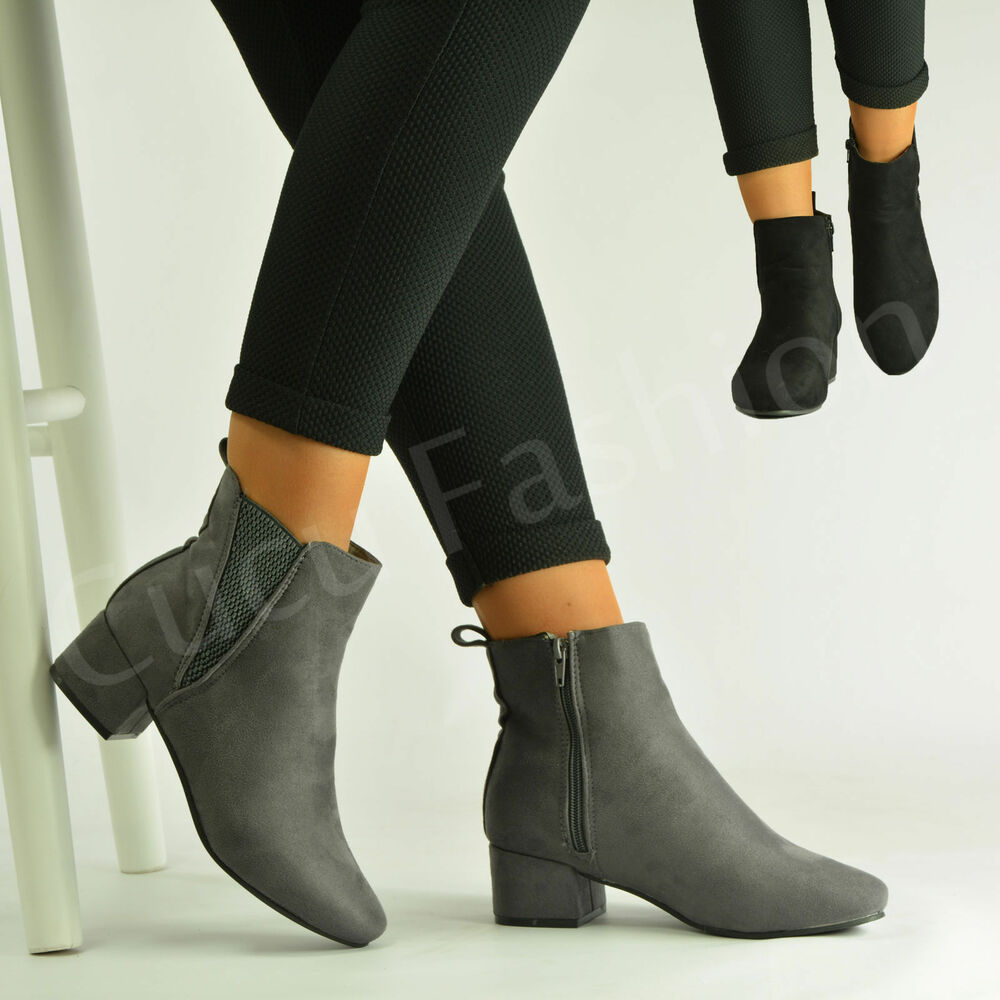 New Womens Ladies Low Block Heel Ankle Boots Zip Winter Casual Shoes Size Uk 3-8 | EBay