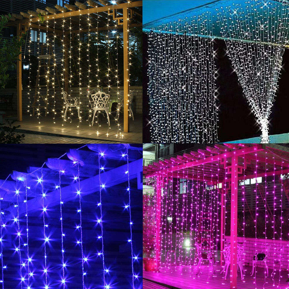 Led Shop Lights Connectable: 9.8ft LED Window Curtains String Fairy Light Christmas