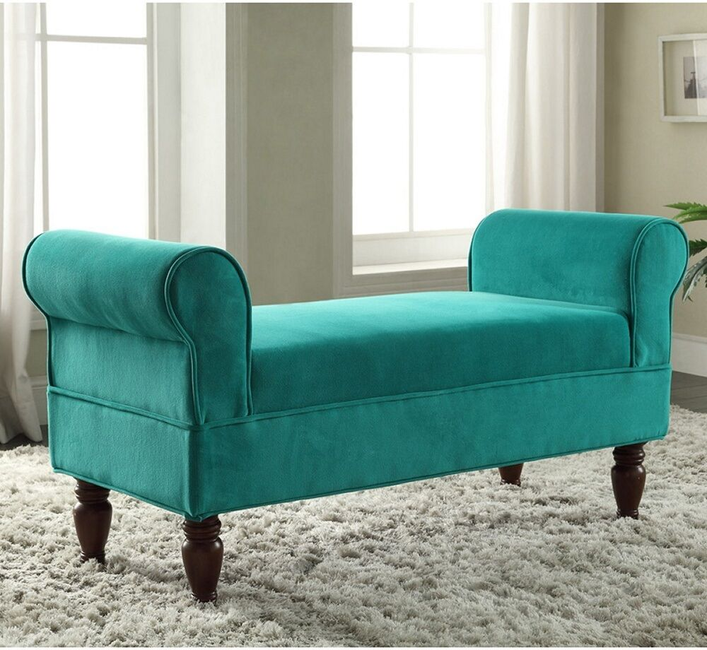 Modern bench seat bedroom entryway upholstered window foyer backless love sofa ebay Bench sofa