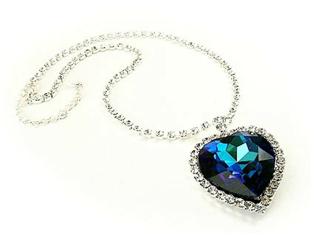 Made with swarovski crystals blue heart of the ocean titanic made with swarovski crystals blue heart of the ocean titanic necklace gift boxed ebay aloadofball Image collections