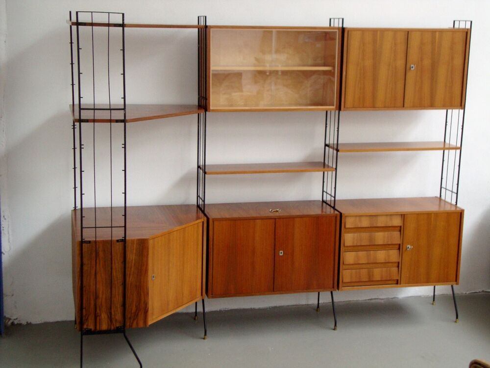 regalsystem string schrank wohnwand modul m bel g ttler mid century 60er 60s ebay. Black Bedroom Furniture Sets. Home Design Ideas
