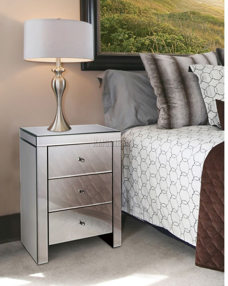 Foxhunter mirrored furniture glass 3 drawer bedside for Mirror bedside cabinets