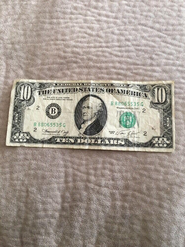 2 10 Ten Dollar Currency Bill Bank Note Usa 1974 Same Series Numbers Ebay