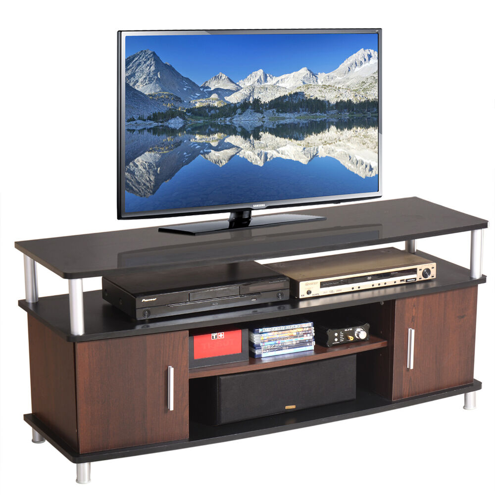 Tv stand entertainment wood cabinet media center console for Media and tv storage furniture