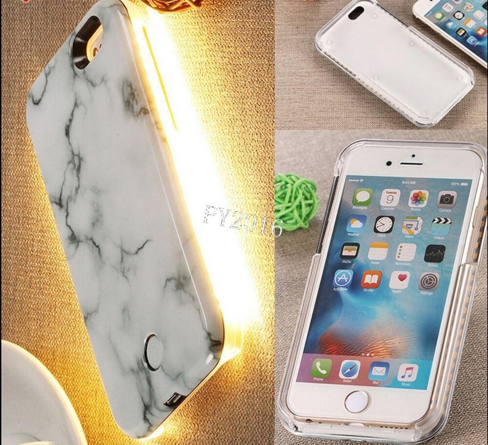 3d Marble Effect Pattern Led Light Up Selfie Phone Case