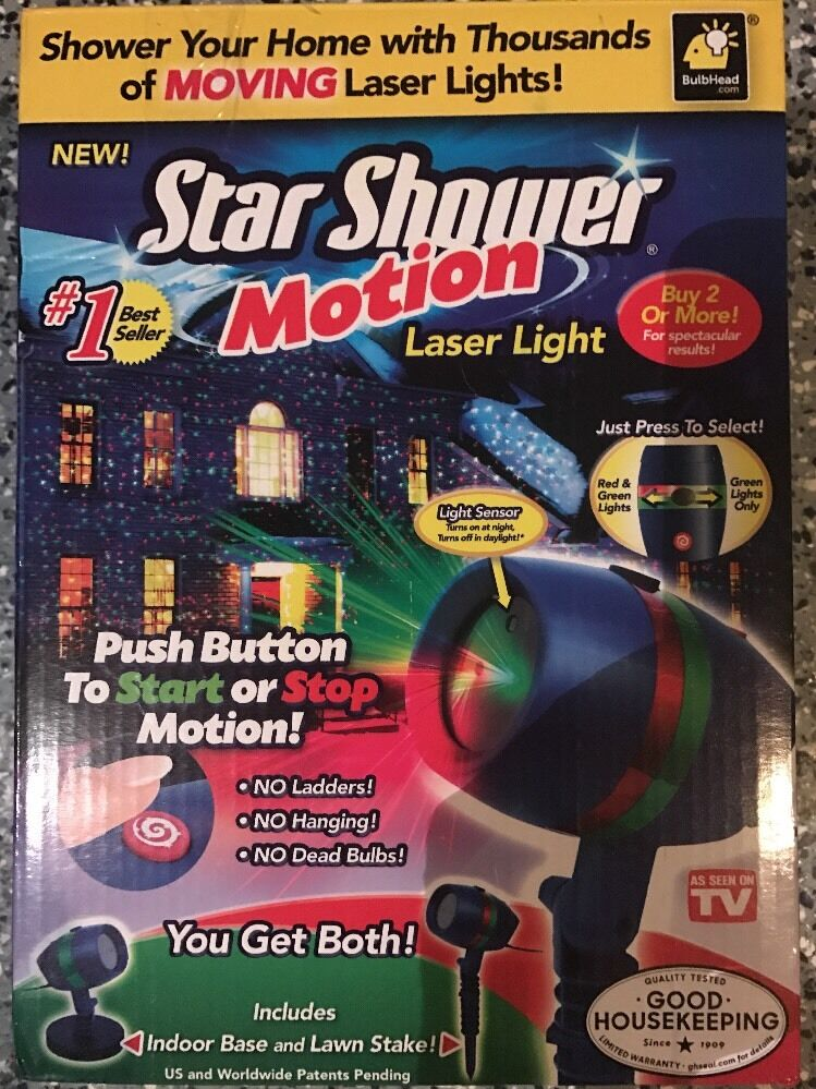 Star shower motion outdoor indoor laser christmas lights projector as seen on tv ebay for Projecteur laser shower motion