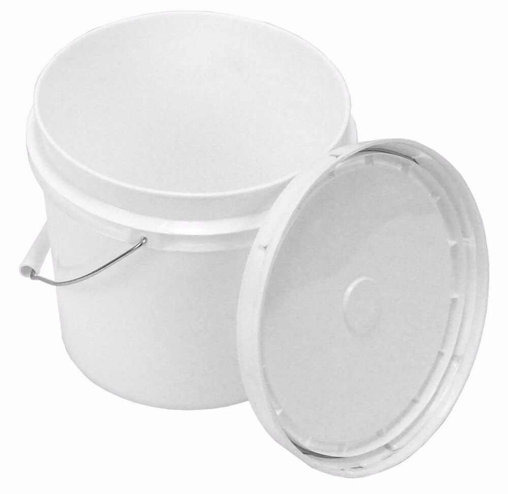 1 Gallon White Bucket With Snap On Lid Ebay