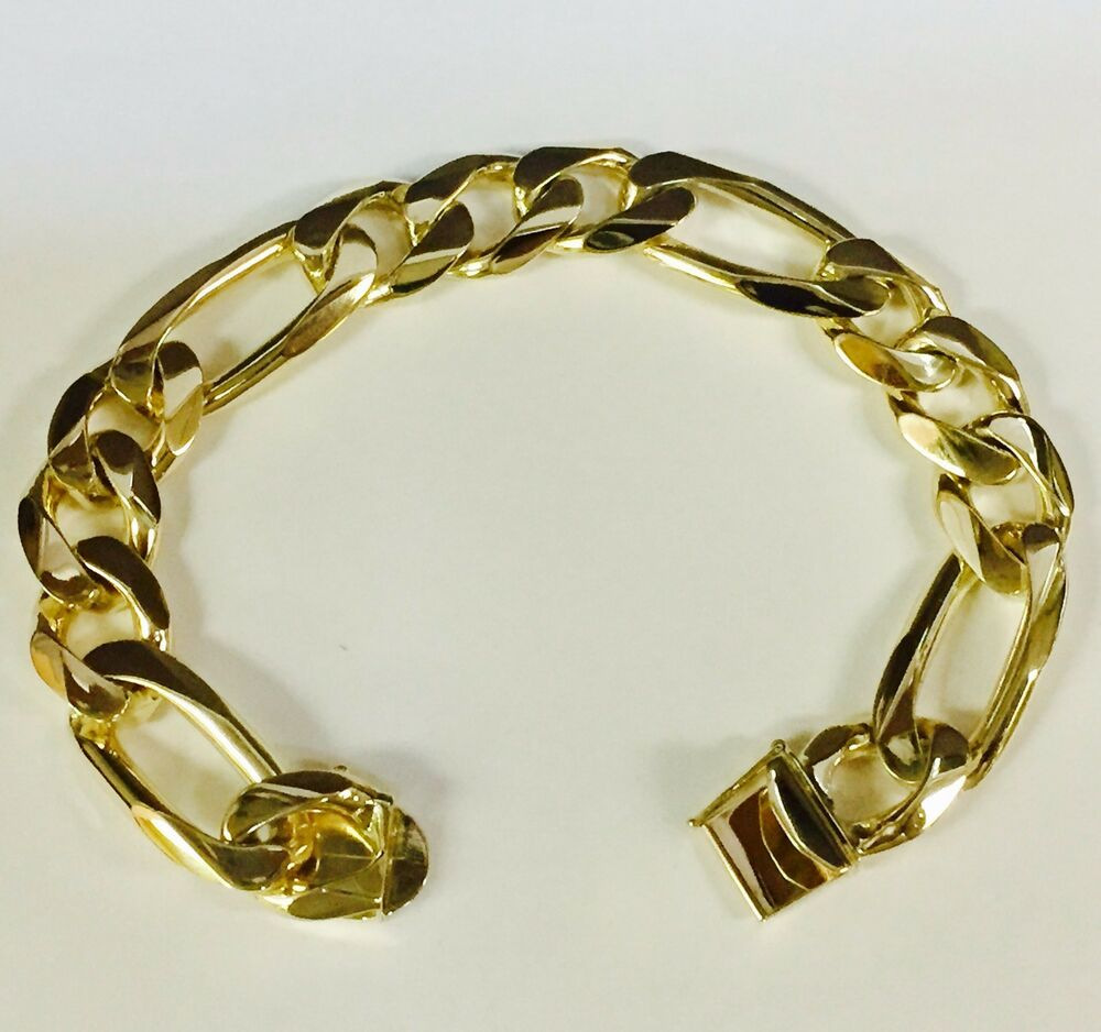 Gold Jewelry Bracelets: 18k Solid Yellow Gold Handmade Figaro Curb Link Mens