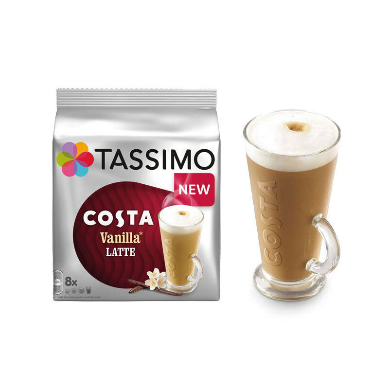 tassimo costa vanilla latte t discs coffee pods bosc late machine cups milk uk ebay. Black Bedroom Furniture Sets. Home Design Ideas
