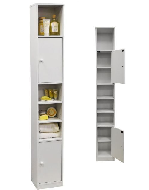 Bathroom Storage Cabinet Tower Unit White Cupboard Space