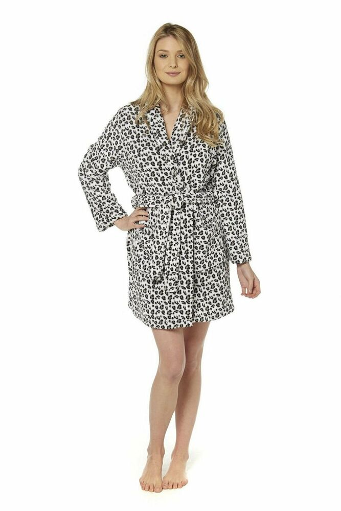 Ladies Supersoft Animal Print Black/White/Grey Robe Small ...