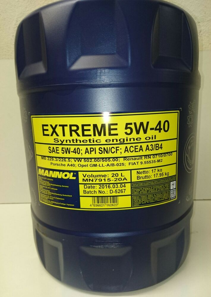 5w 40 mannol extreme fully synthetic engine oil 20l api sn for 5 w 40 motor oil